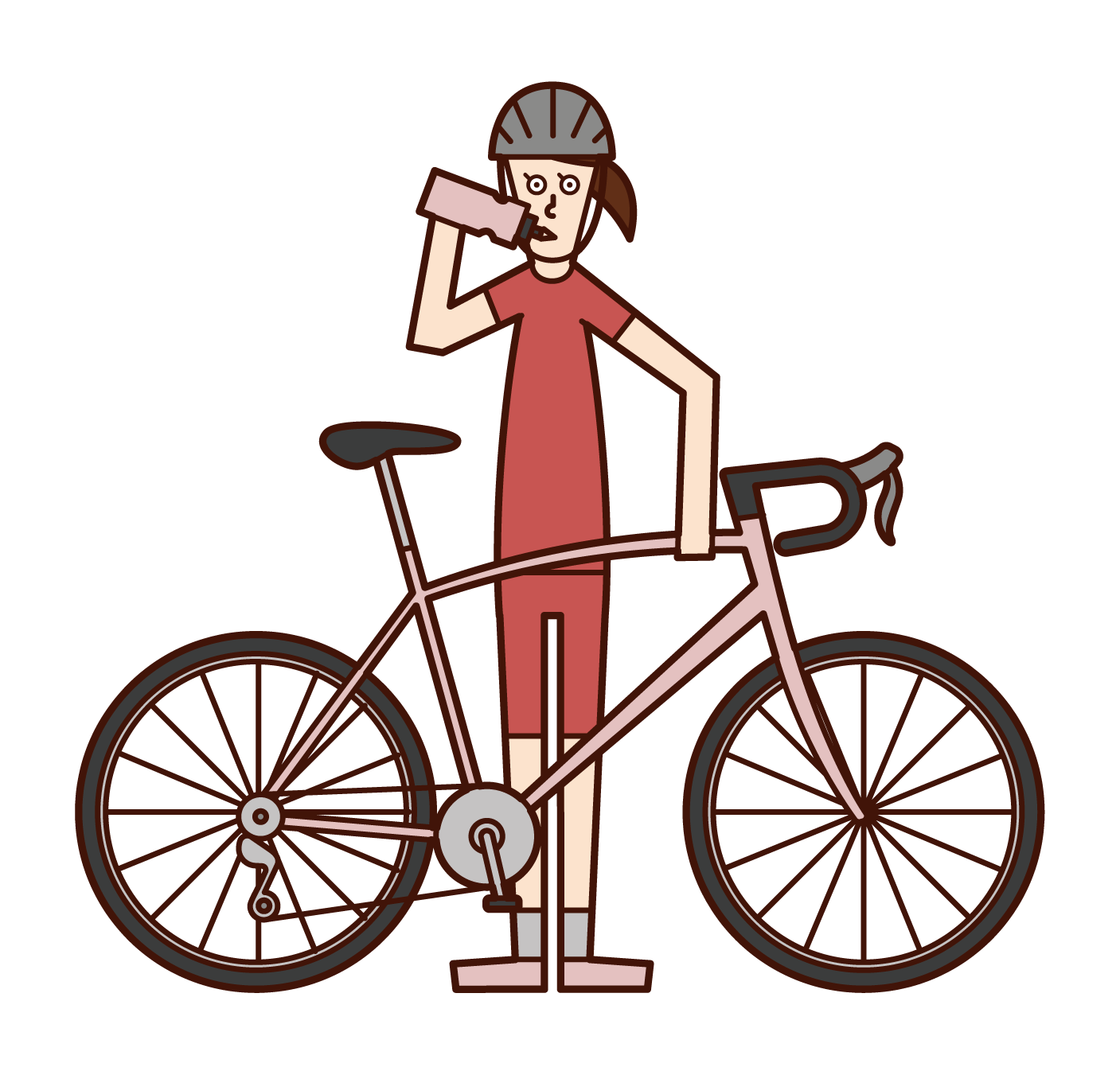 Illustration of a cyclist (woman) rehydration