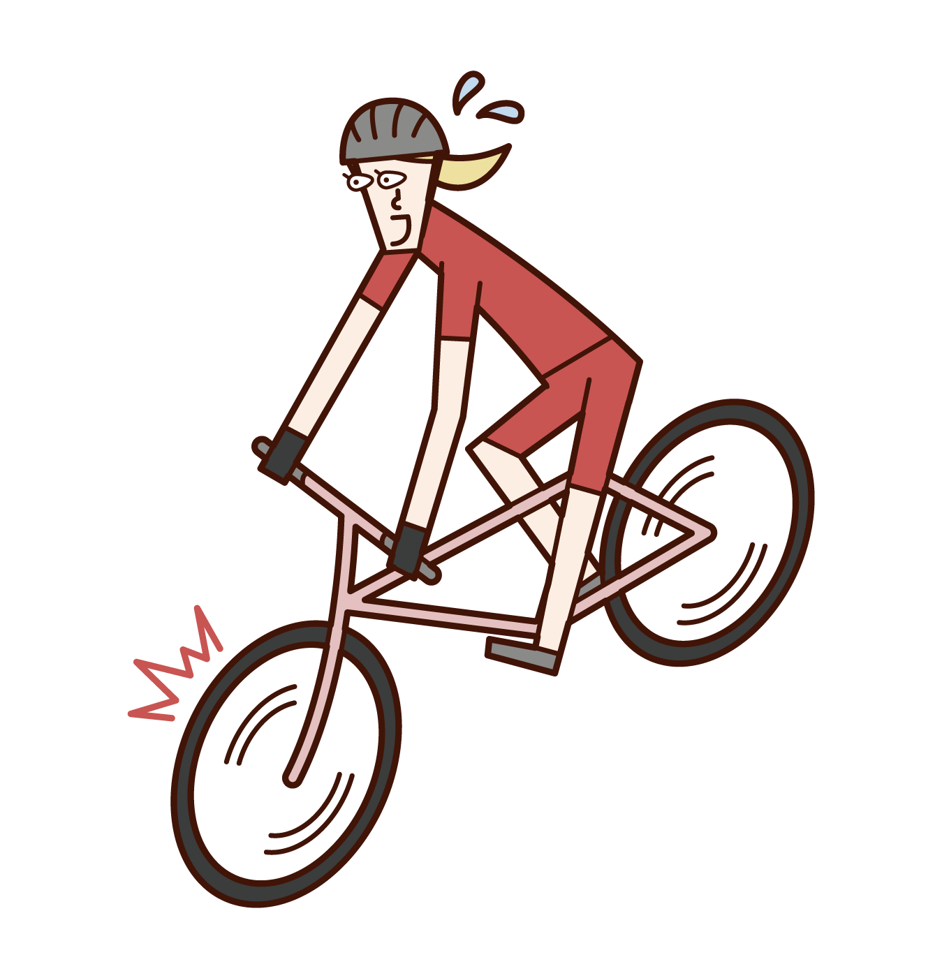Illustration of a cyclist (woman) who brakes suddenly