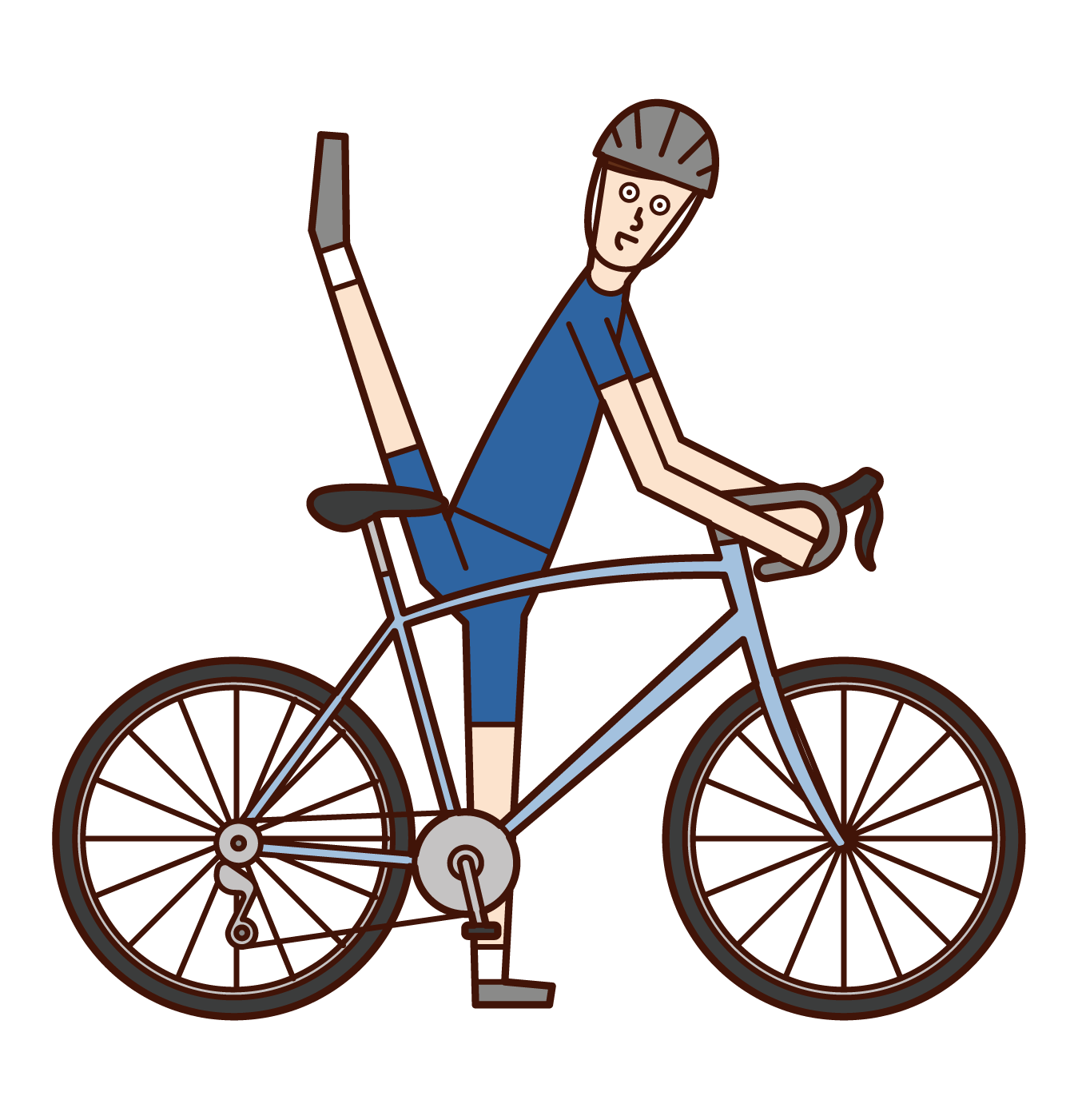 Illustration of a man riding a bicycle with his legs high