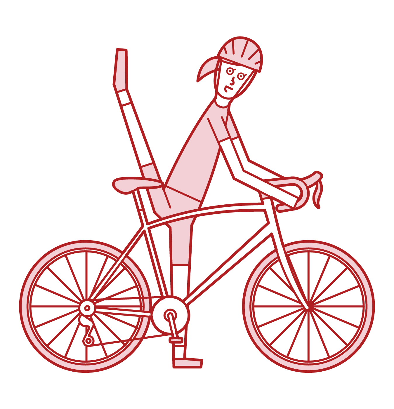 Illustration of a person (woman) riding a bicycle with his legs high