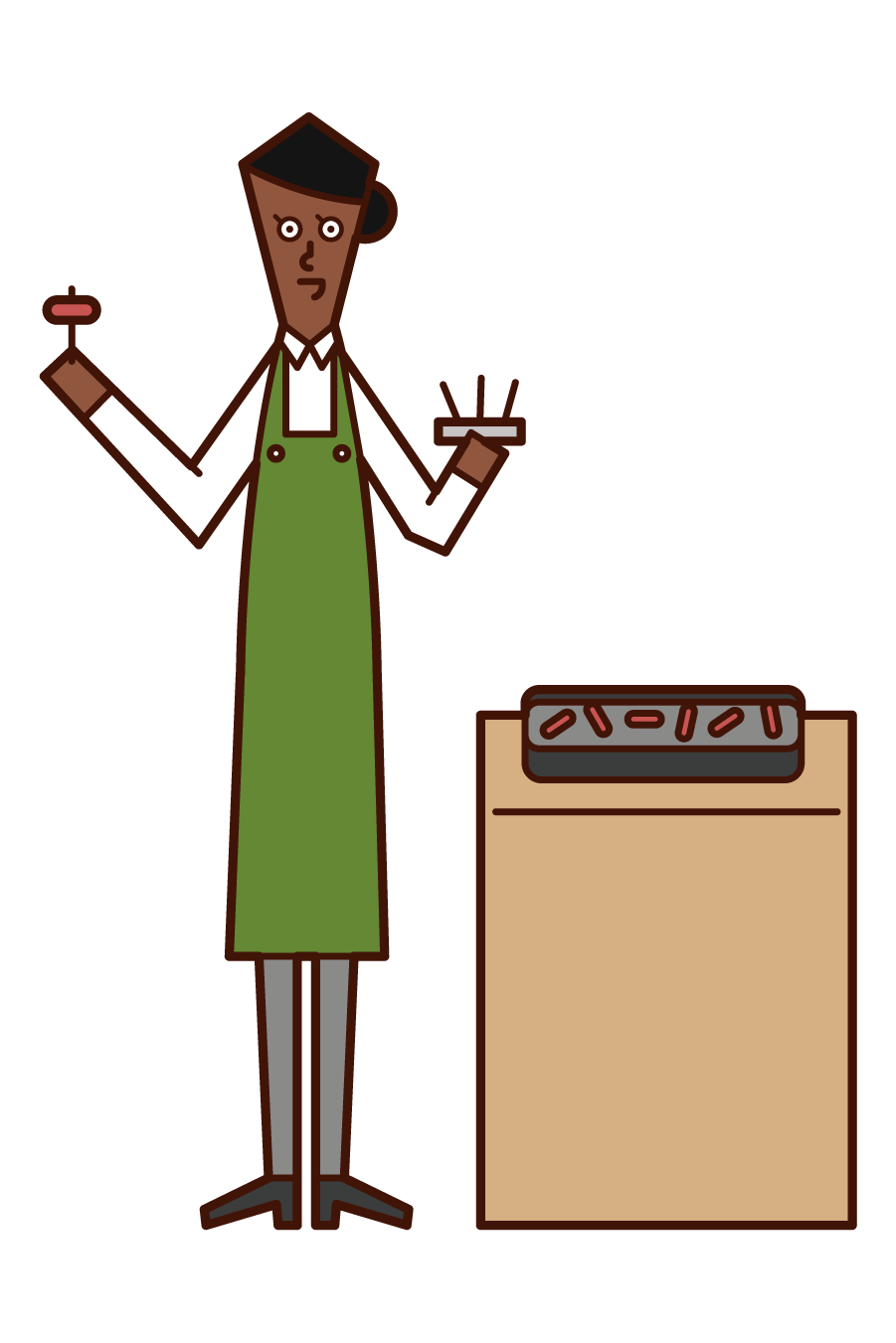 Illustration of a demonstration seller (woman)