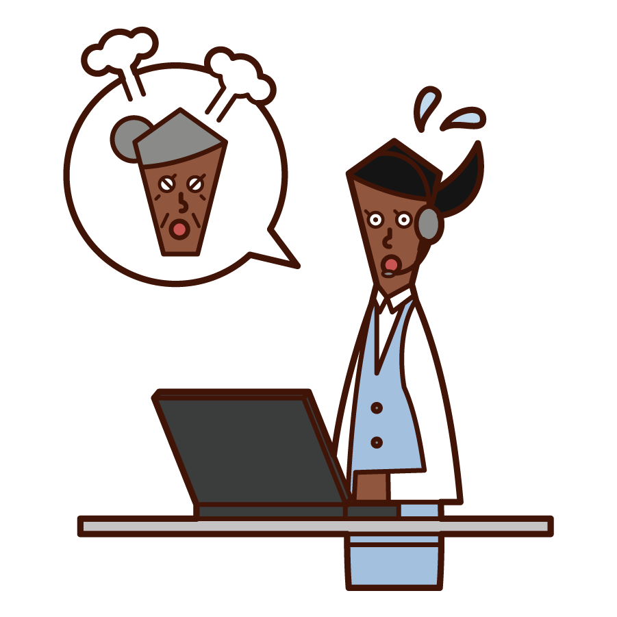 Illustration of a customer support telephone operator (woman) responding to angry customers