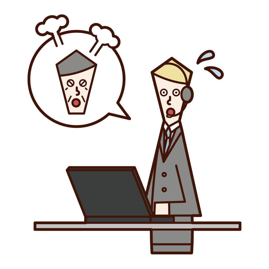 Illustration of a customer support telephone operator (man) responding to angry customers