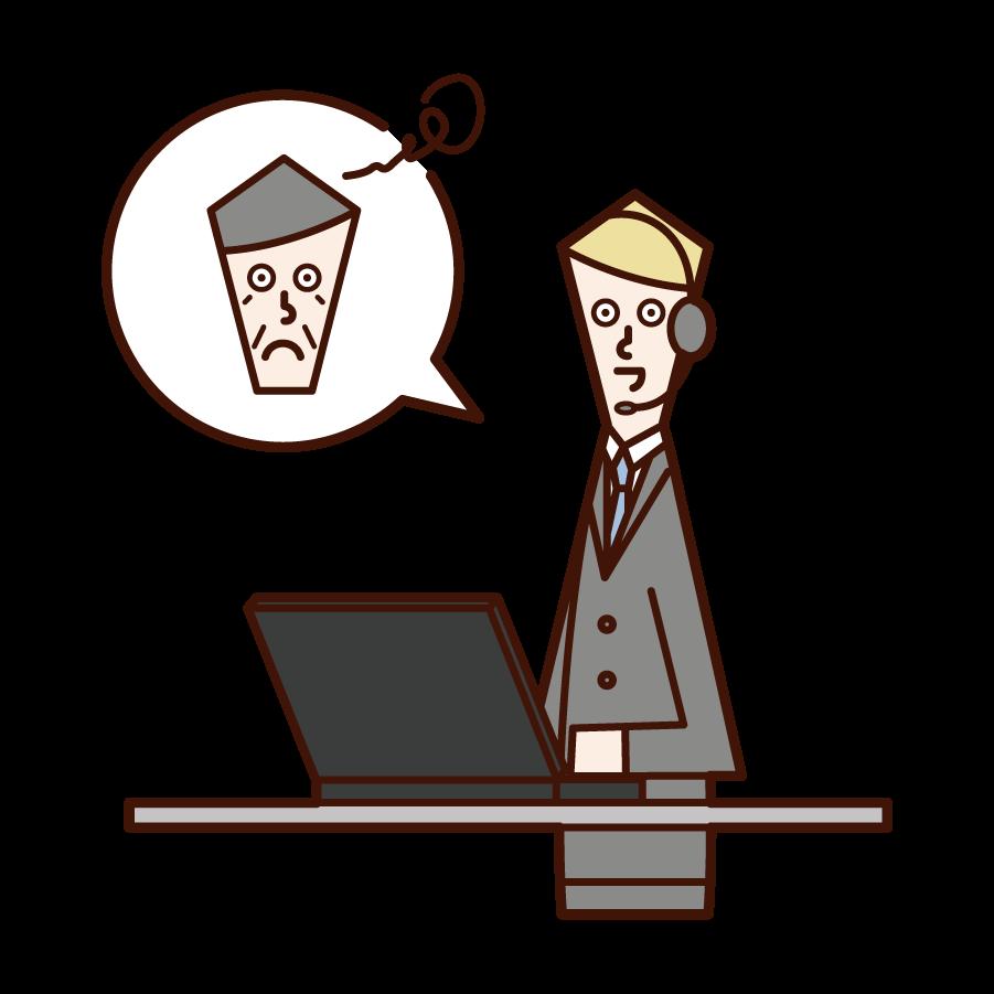 丁寧に顧客対応をするカスタマーサポート・テレフォンオペレーター(男性)のイラスト