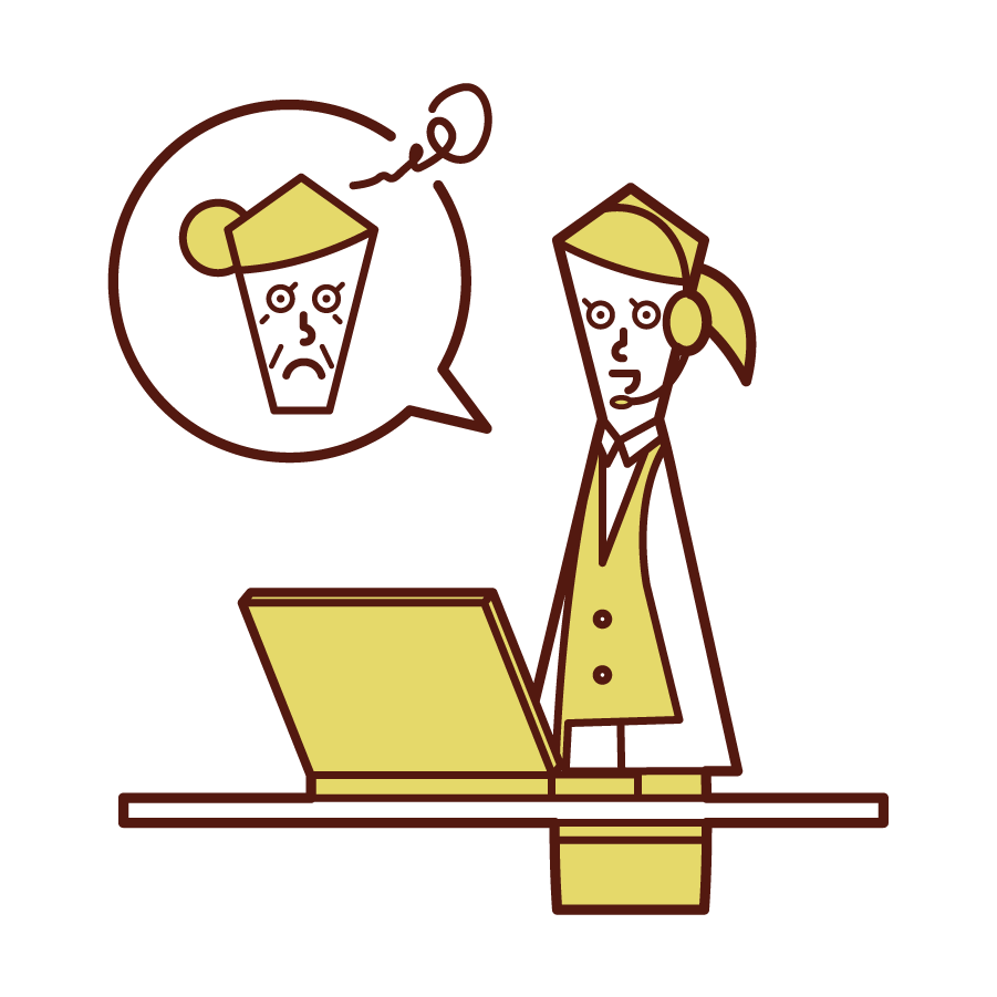 Illustration of customer support and telephone operator (woman) who carefully respond to customers