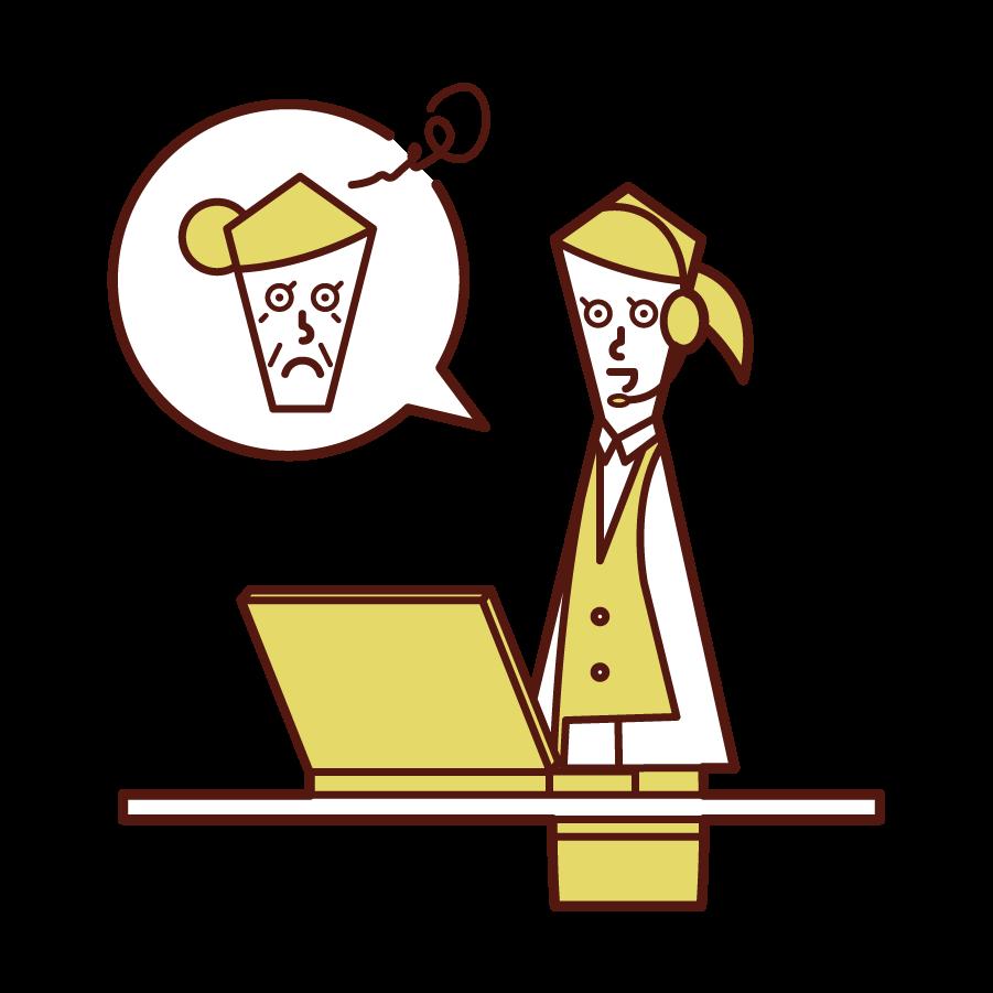 丁寧に顧客対応をするカスタマーサポート・テレフォンオペレーター(女性)のイラスト