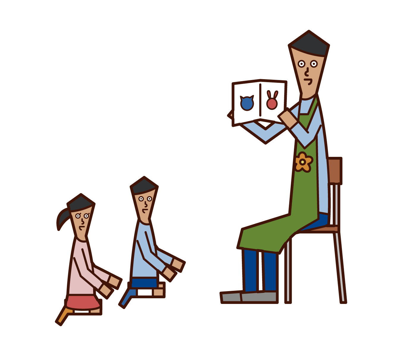 Illustration of a nursery teacher (man) reading a picture book to a child