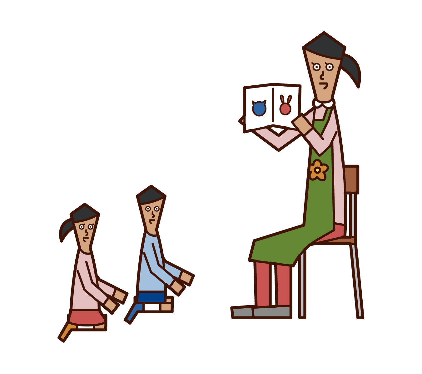 Illustration of a nursery teacher (woman) reading a picture book to a child