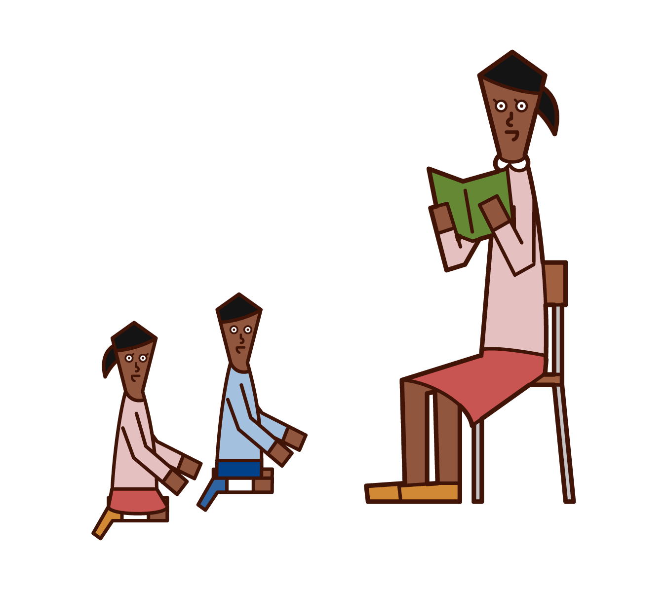 Illustration of a nursery teacher (woman) reading a book to a child