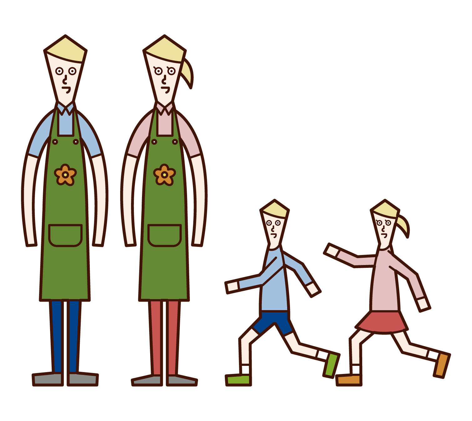 Illustration of a nursery teacher (man and woman) playing with children