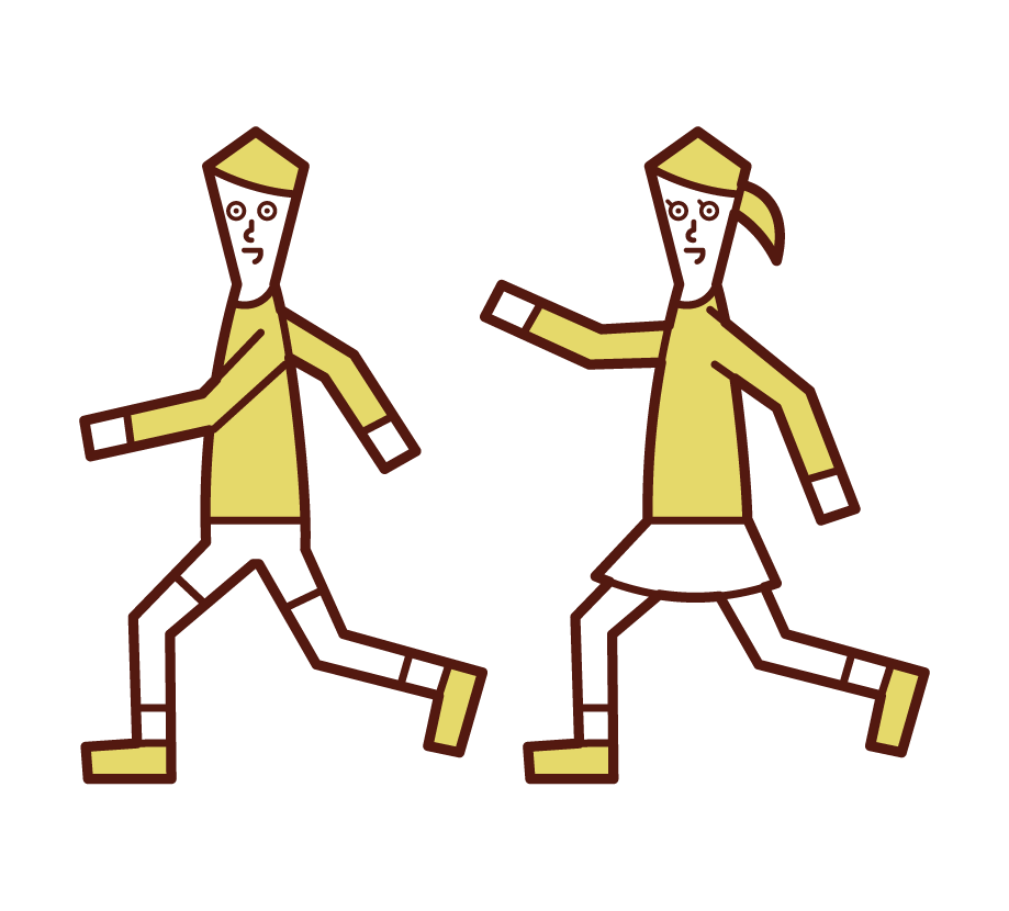 Illustration of children running around (men and women)