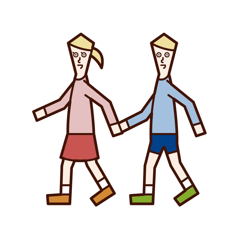 Illustration of children (men and women) taking a walk