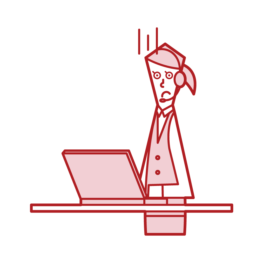 Illustration of telephone operator customer support (woman) with troubled face