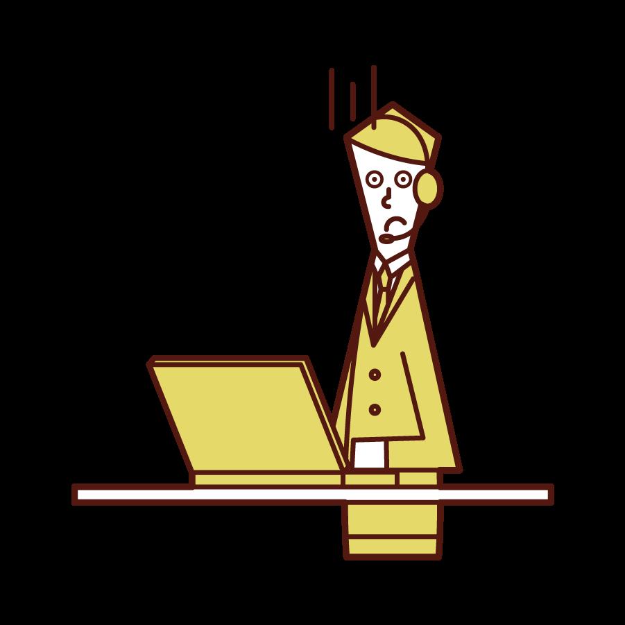 困った顔のテレフォンオペレーター・カスタマーサポート(男性)のイラスト