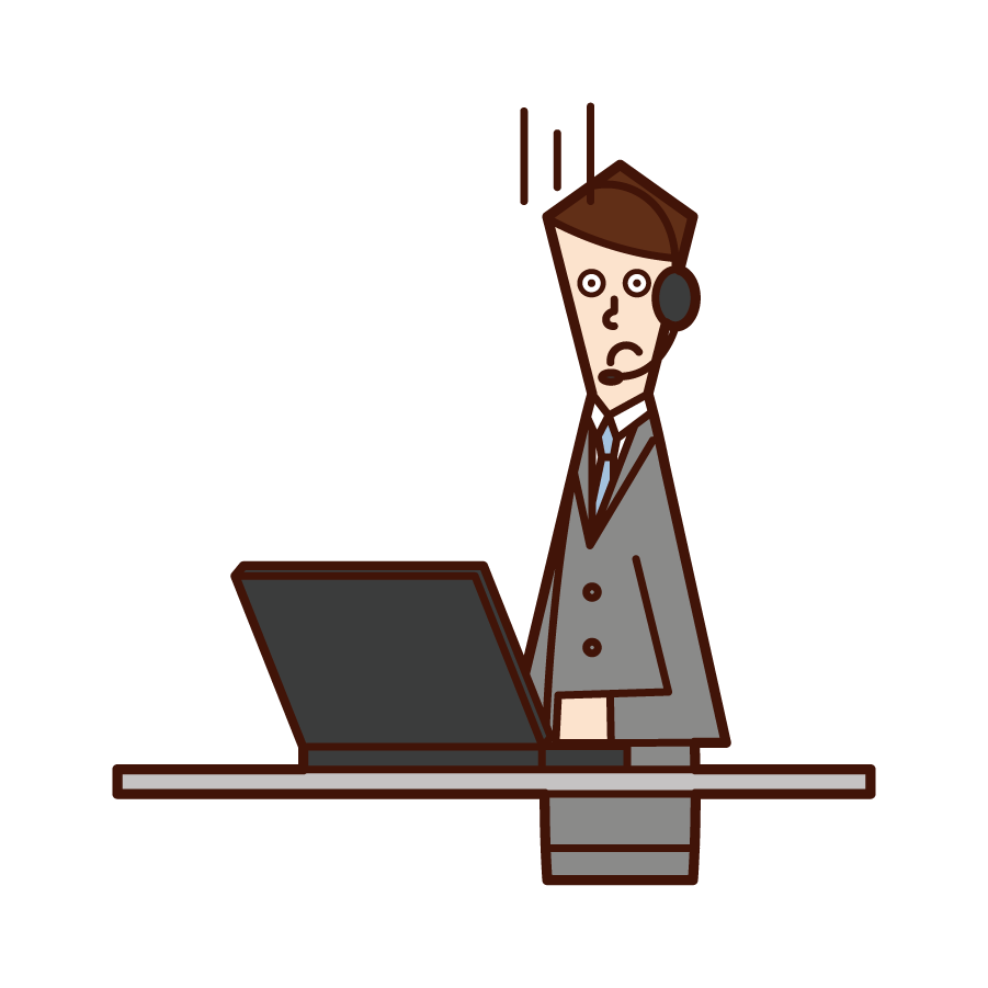 Illustration of telephone operator customer support (man) with a troubled face