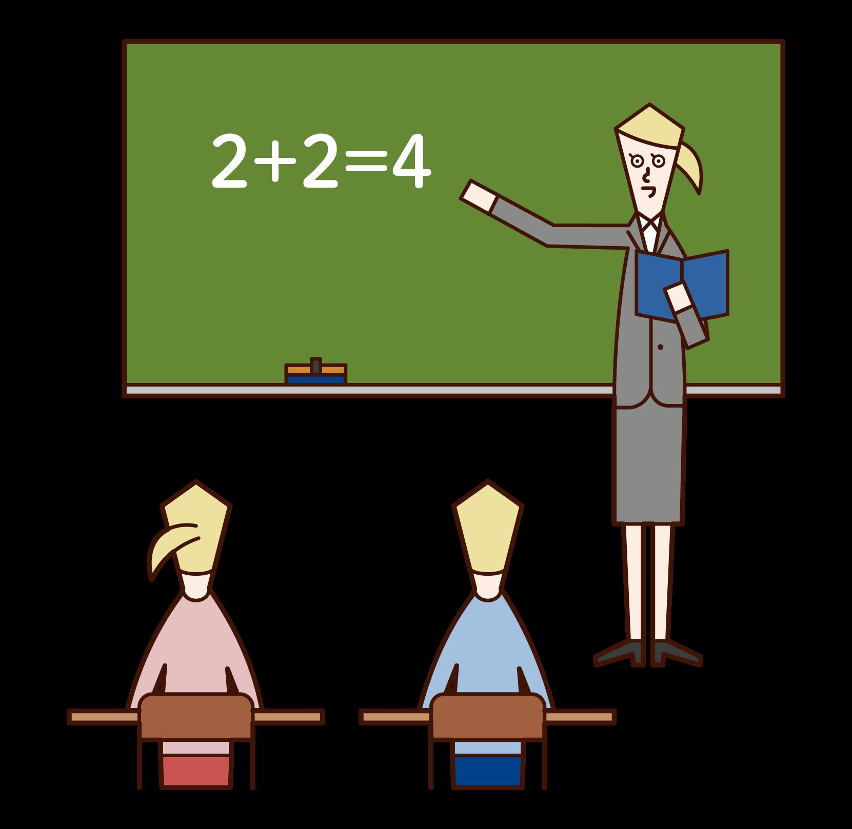 Illustration of an elementary school teacher (woman)