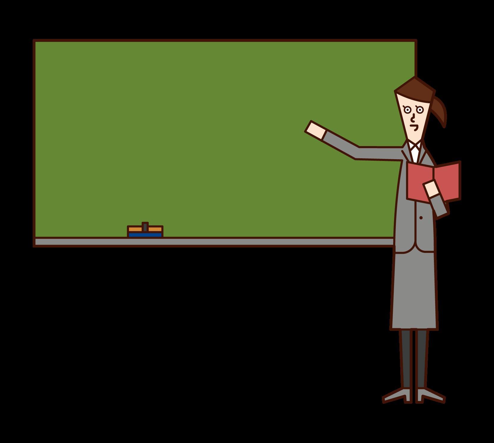 授業をする教師(女性)のイラスト