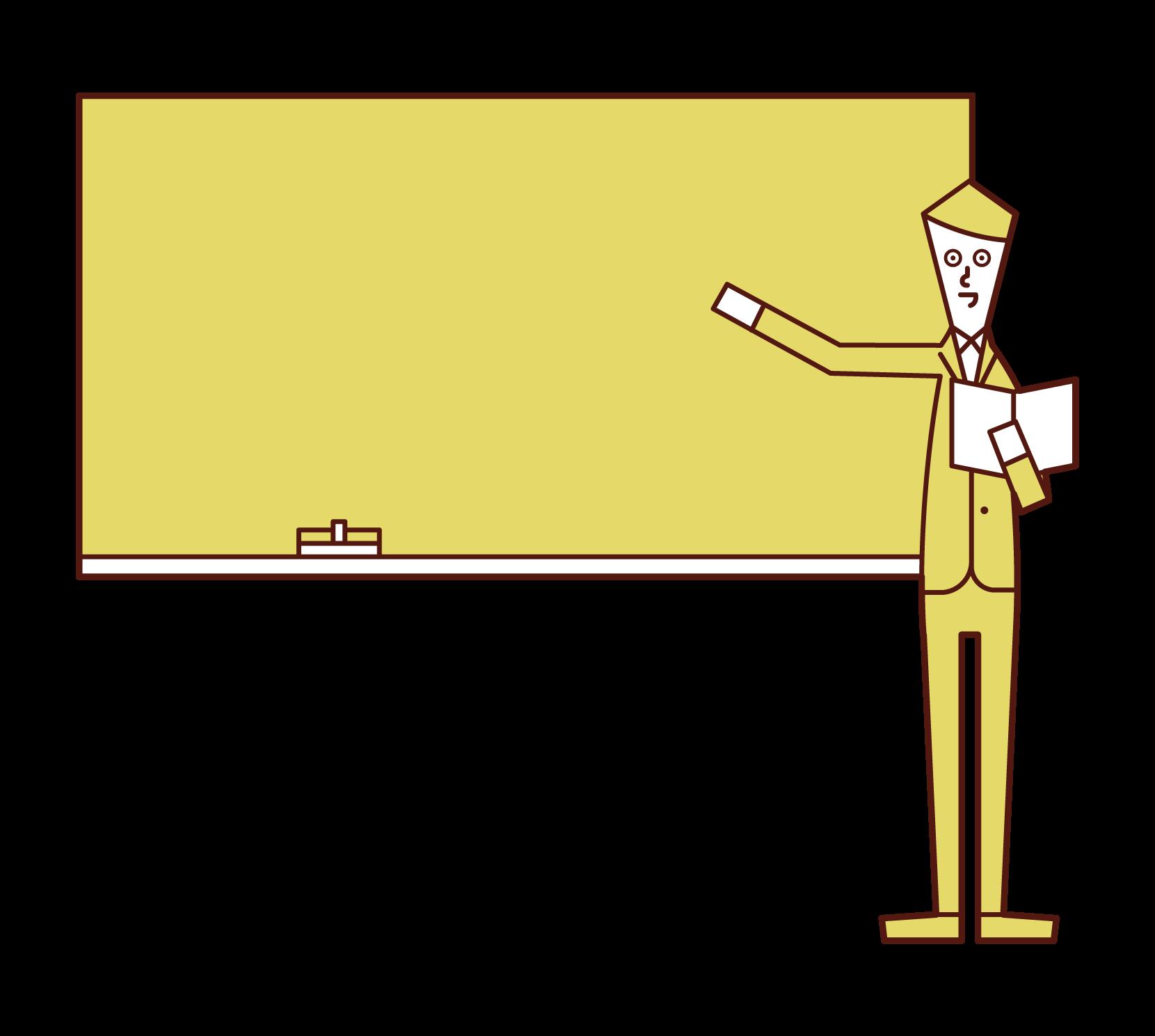 수업을 받는 교사(남성)의 일러스트