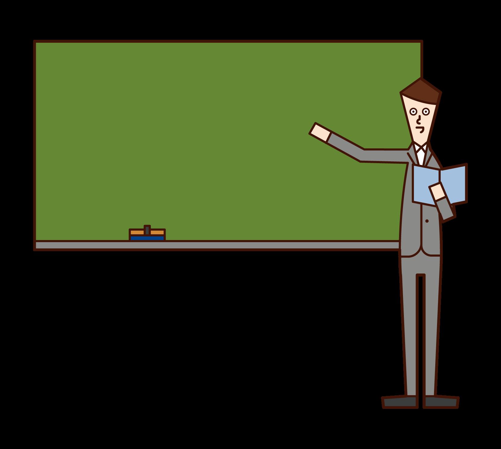 授業をする教師(男性)のイラスト