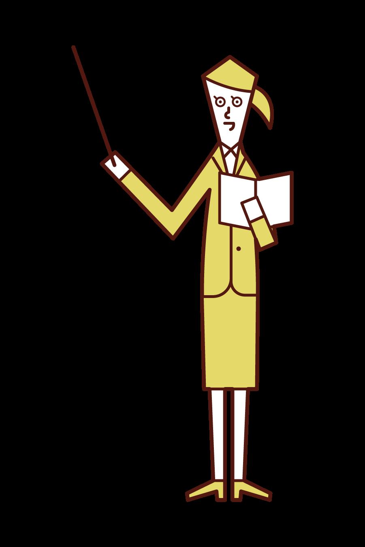 教師(女性)のイラスト