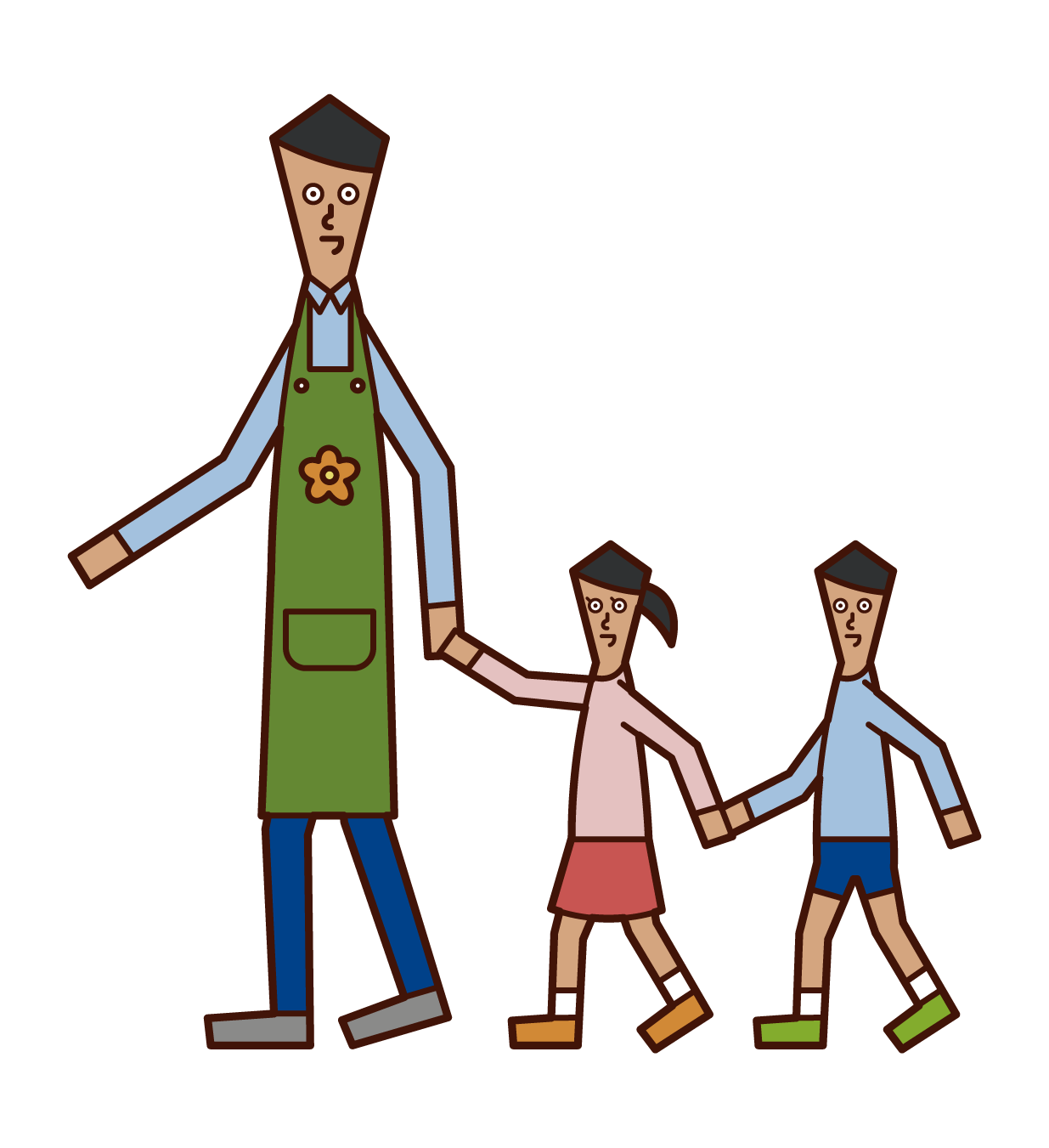 Illustration of a nursery teacher (man) taking a walk with a child