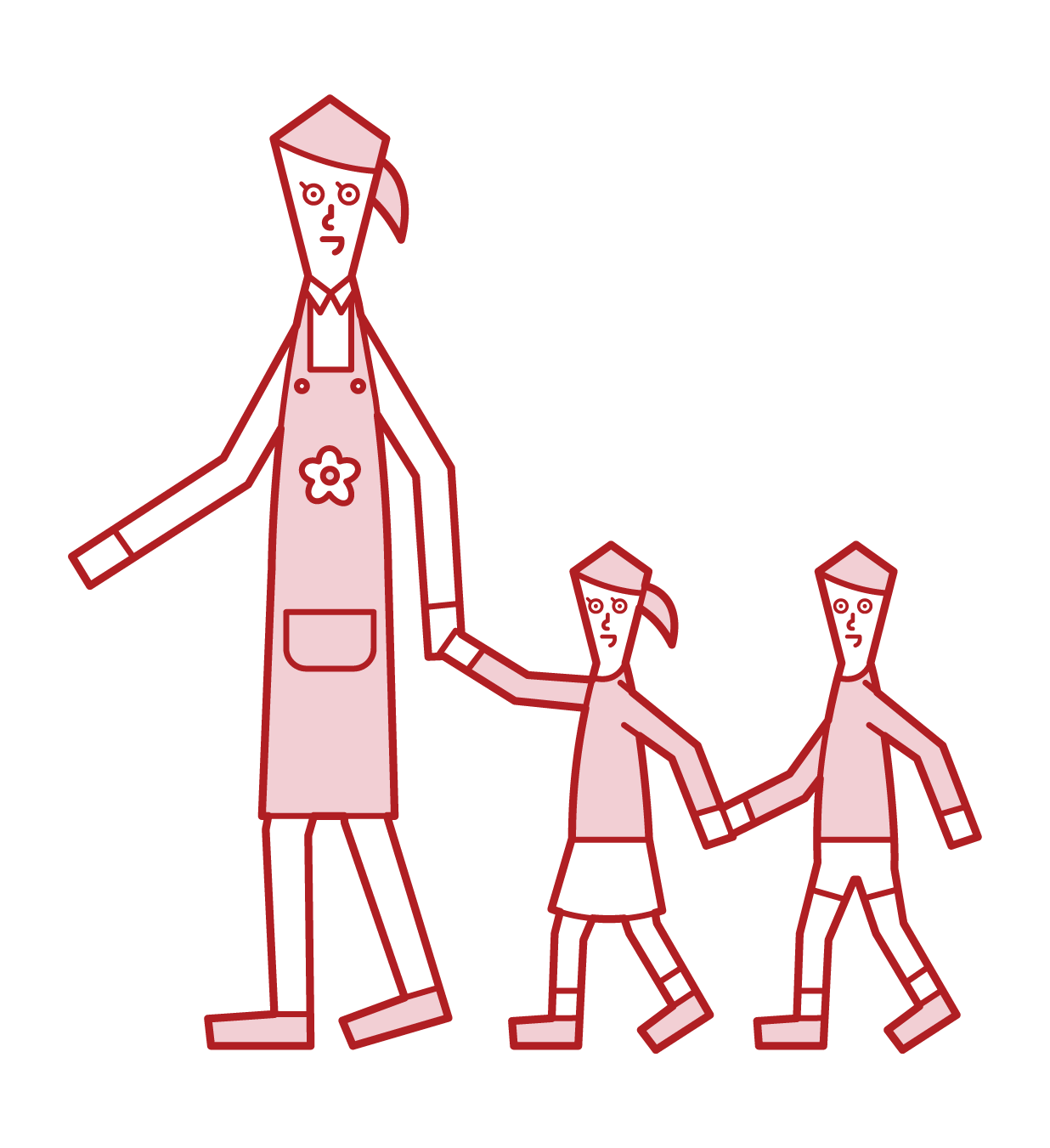 Illustration of a nursery teacher (woman) taking a walk with a child