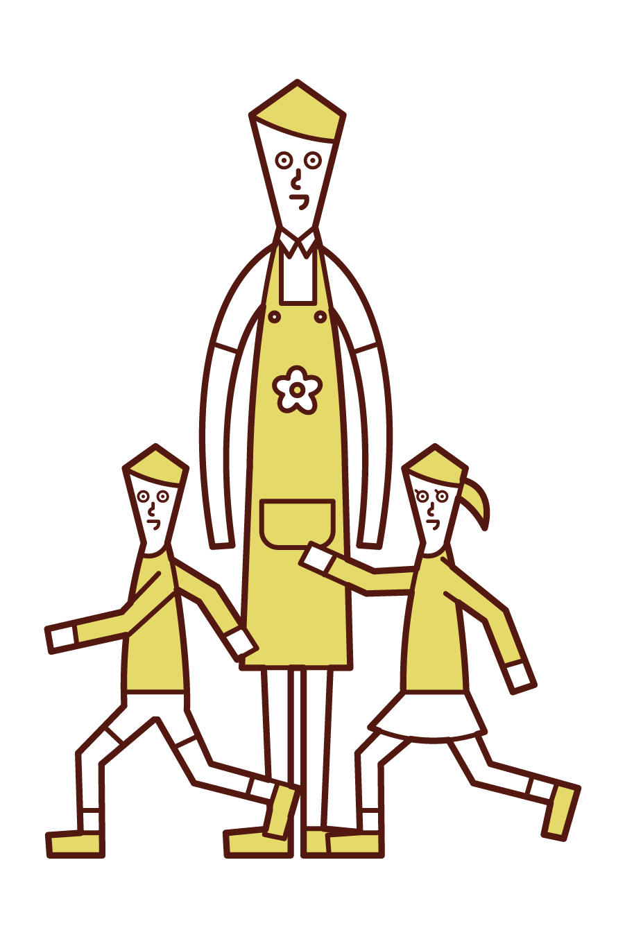 Illustration of a nursery teacher (man) watching over children