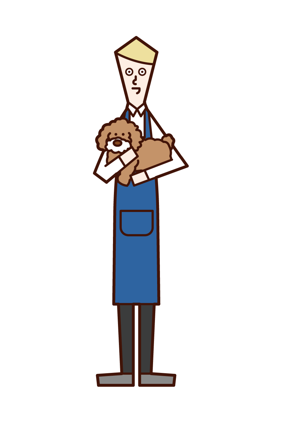 Illustration of pet shop clerk (man)