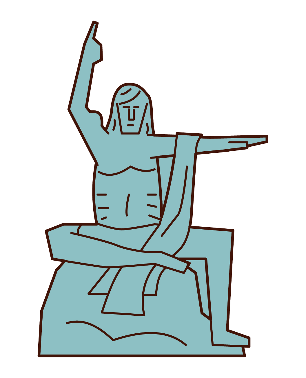 Illustration of a statue of peace prayer