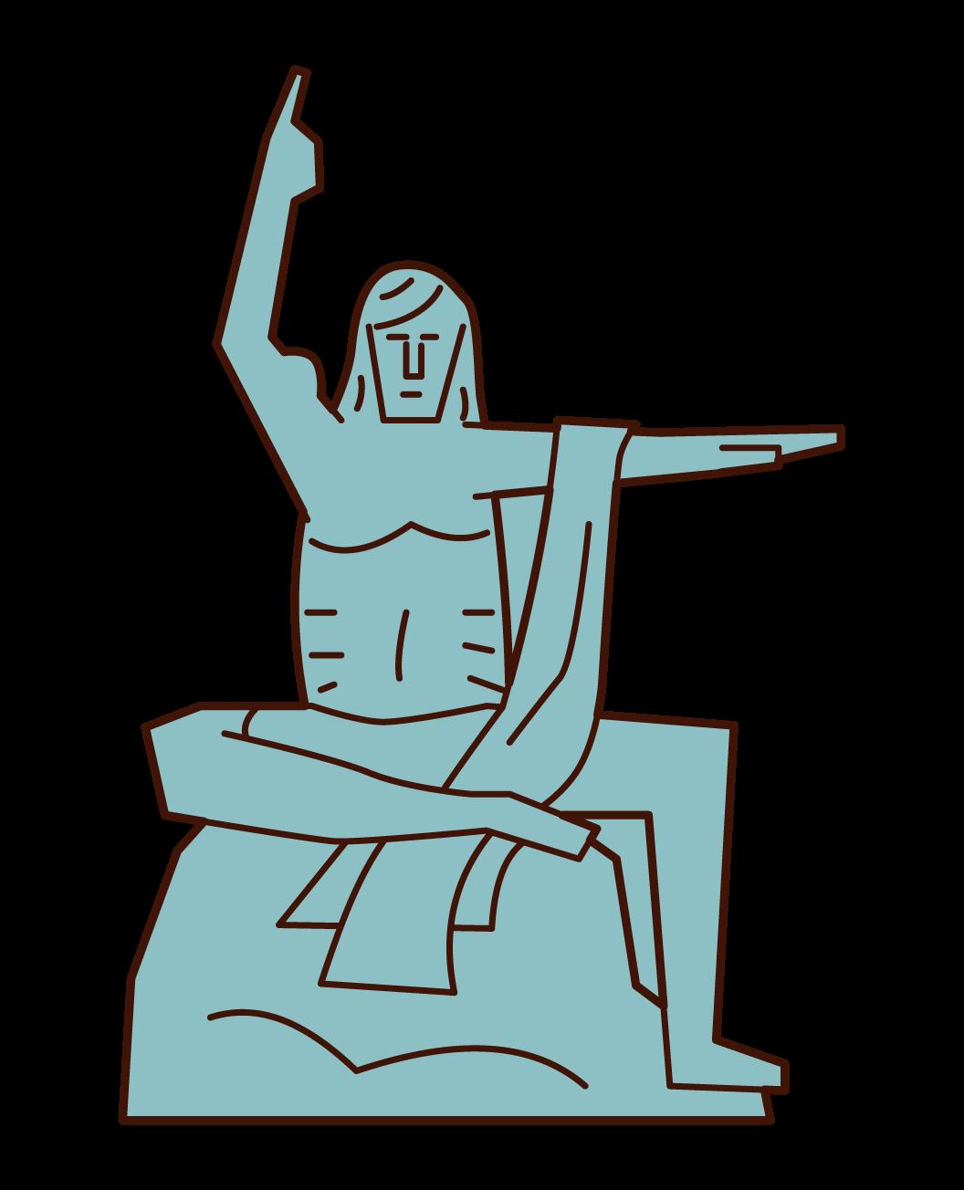 平和祈念像のイラスト