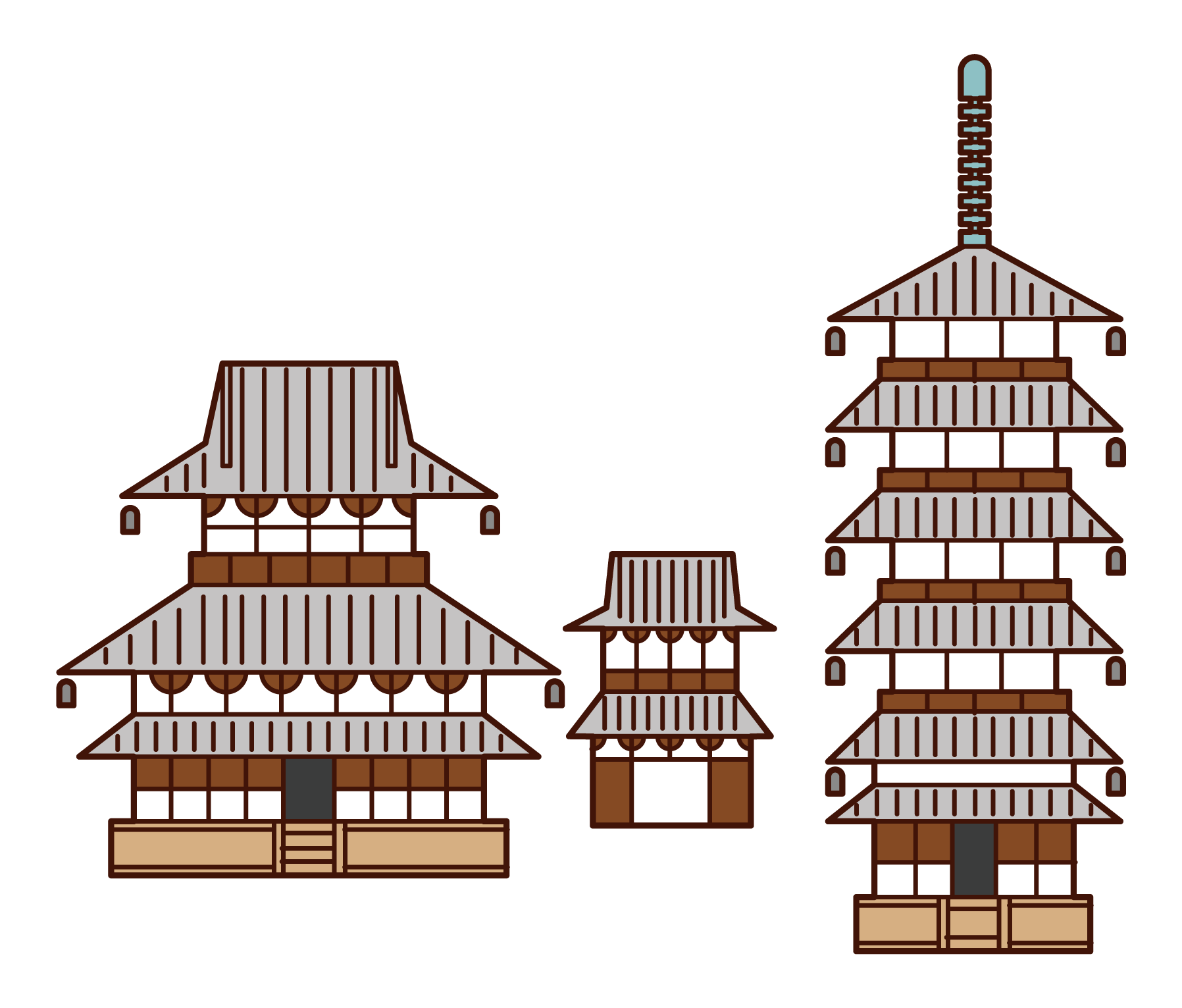 Illustration of Horyuji Temple