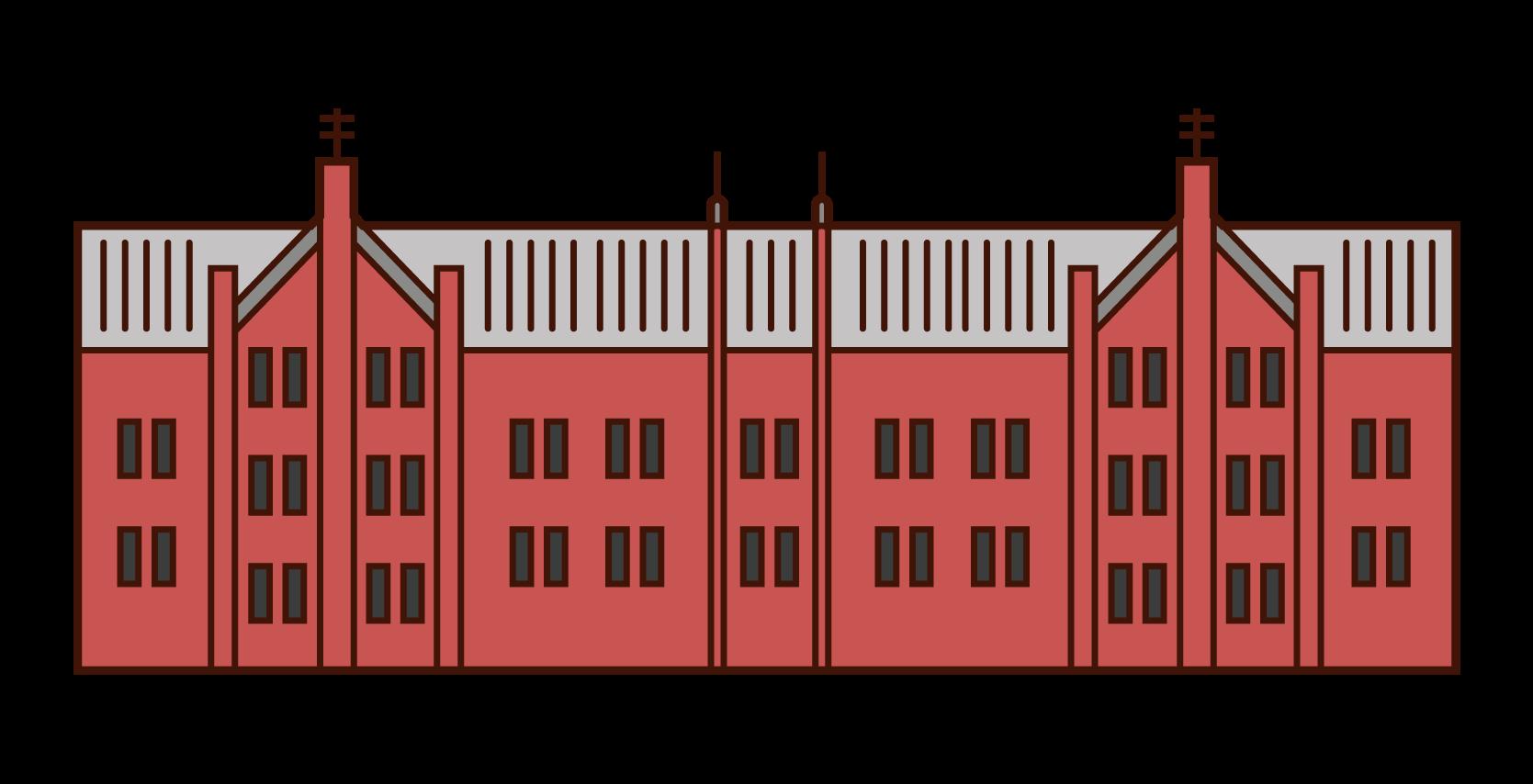 赤レンガ倉庫のイラスト