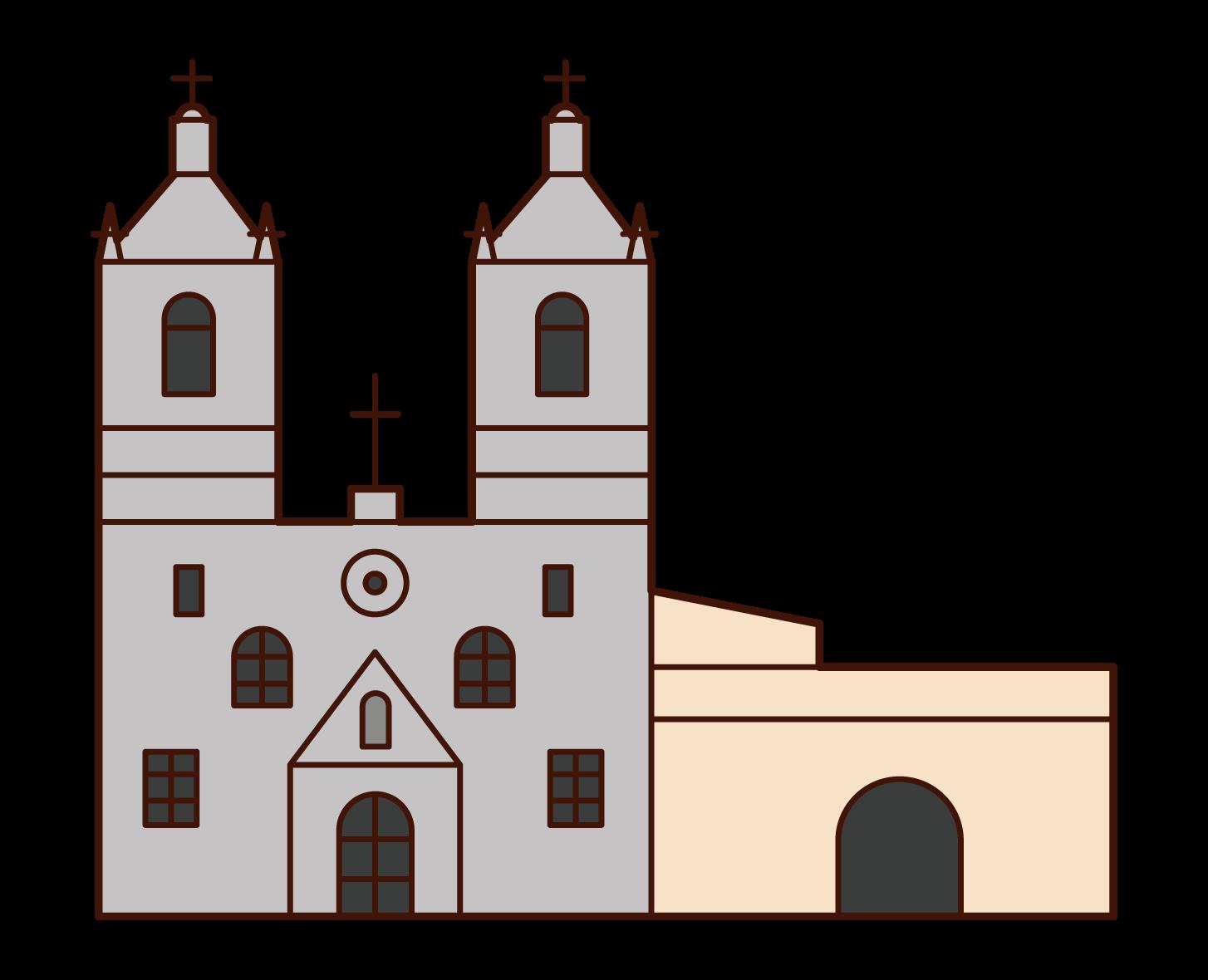 サン・アントニオ伝道施設群のイラスト