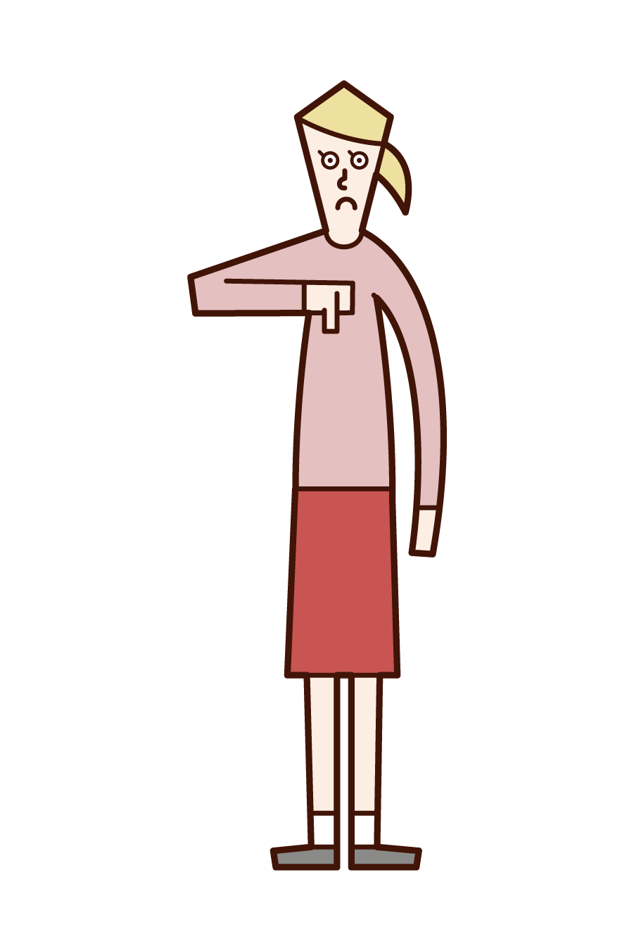 Illustration of a woman with his thumb facing down