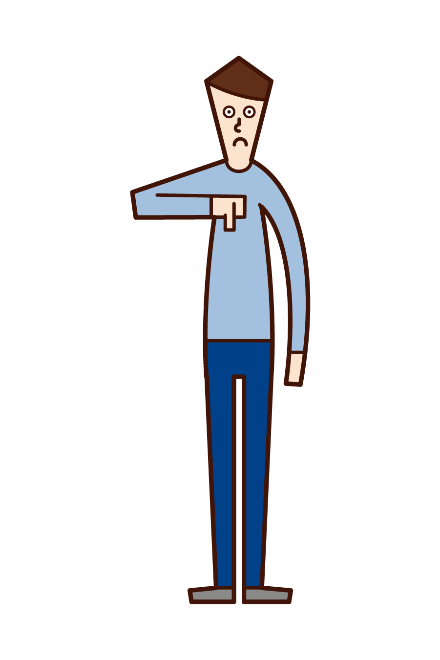 Illustration of a man with his thumb facing down