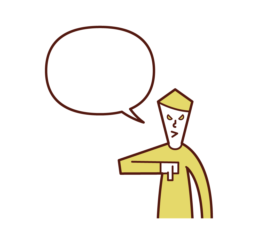 Illustration of a man speaking with his thumb facing down