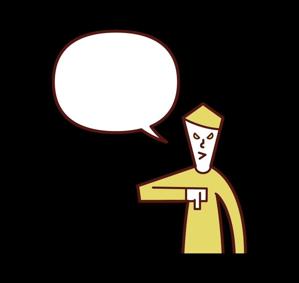 親指を下に向けながら話す人(男性)のイラスト