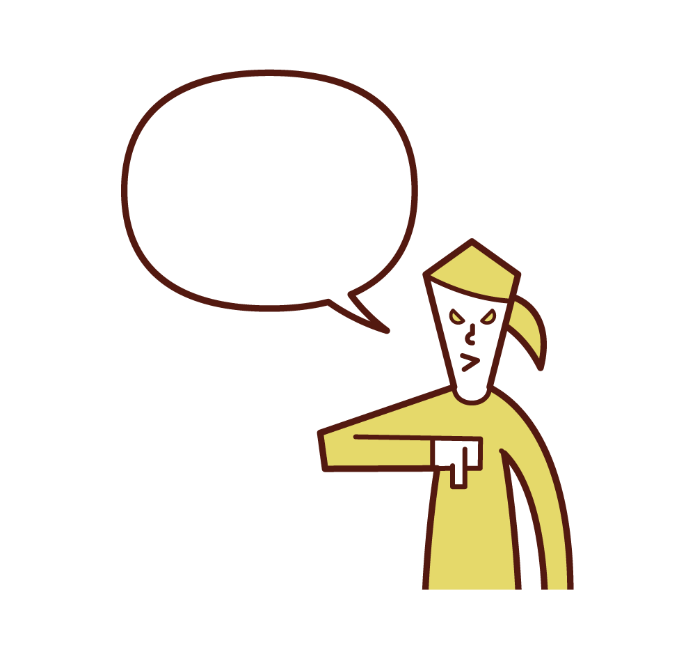 Illustration of a woman speaking with his thumb facing down