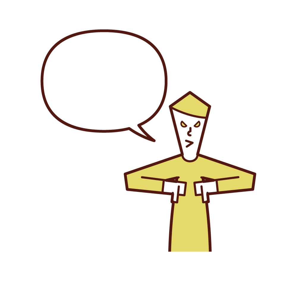 Illustration of a scary man talking with the thumb of both hands facing down