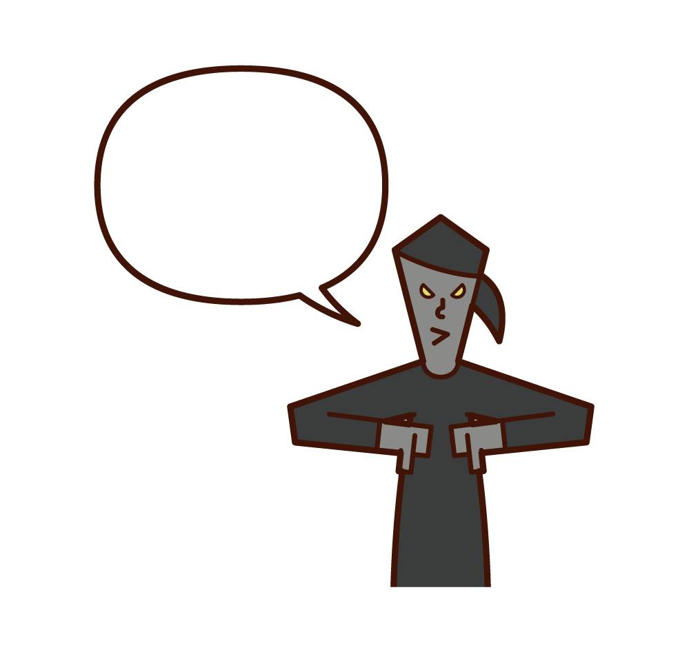 Illustration of a scary person (woman) speaking with the thumb of both hands facing down