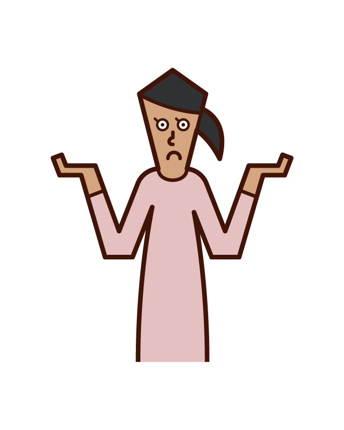 Illustration of a person (woman) who shruds his shoulders