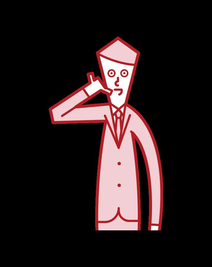 電話のポーズをする人(男性)のイラスト