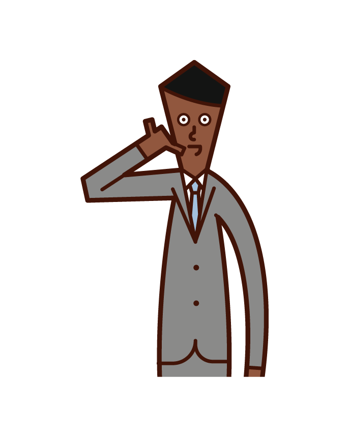 Illustration of a person (man) posing on the phone