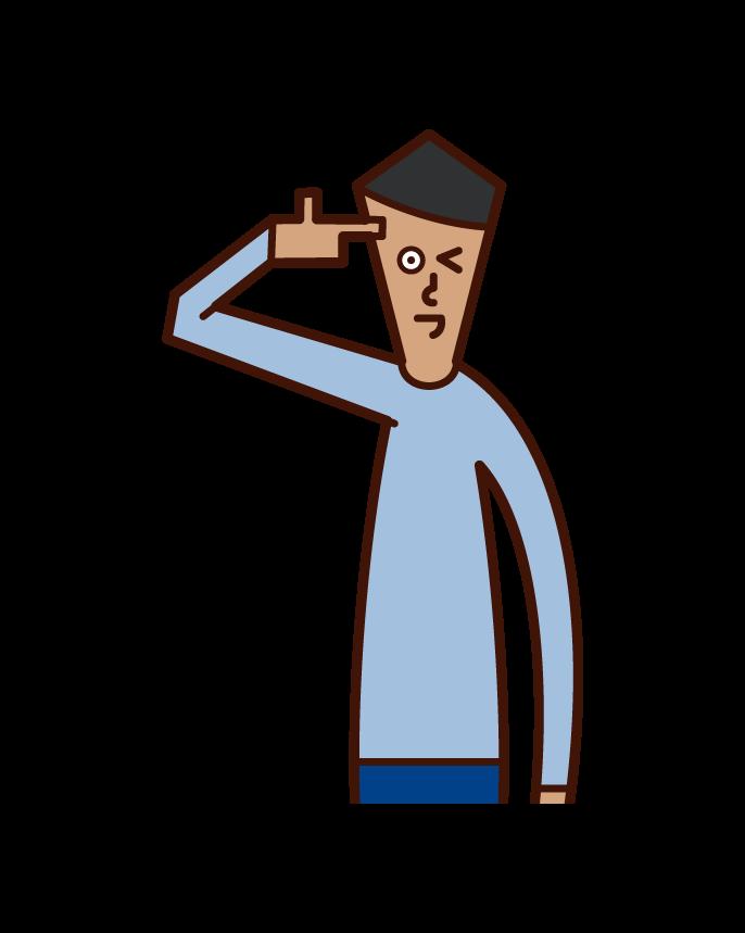 銃を頭に当てるポーズをする人(男性)のイラスト