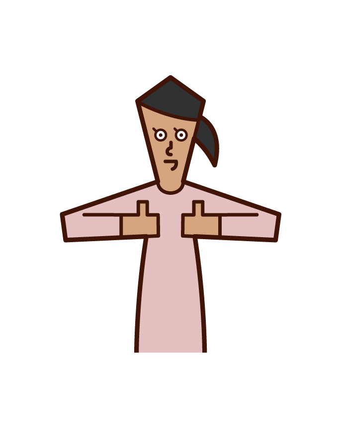 Illustration of a woman raising the thumbs of both hands