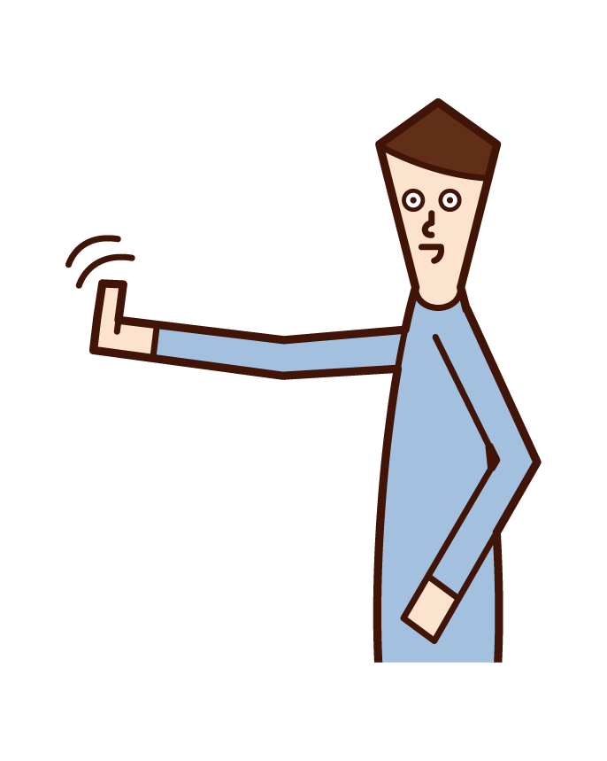 Illustration of a man raising the thumbs of both hands