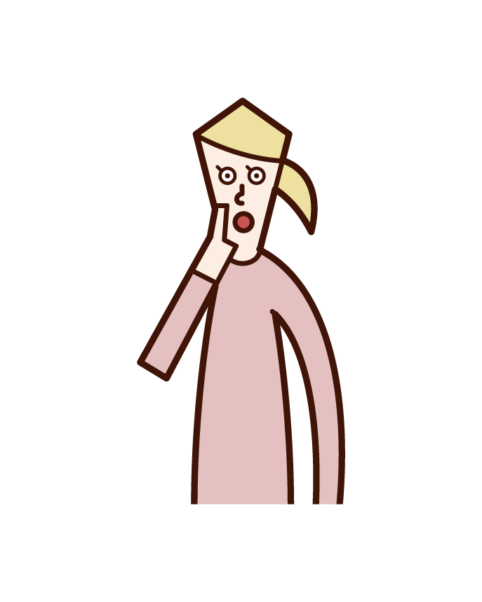 Illustration of a woman who speaks with his hand on his mouth