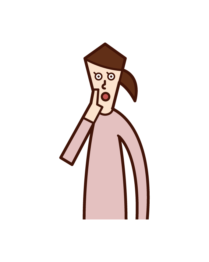 ガッツポーズをして喜ぶ人(女性)のイラスト