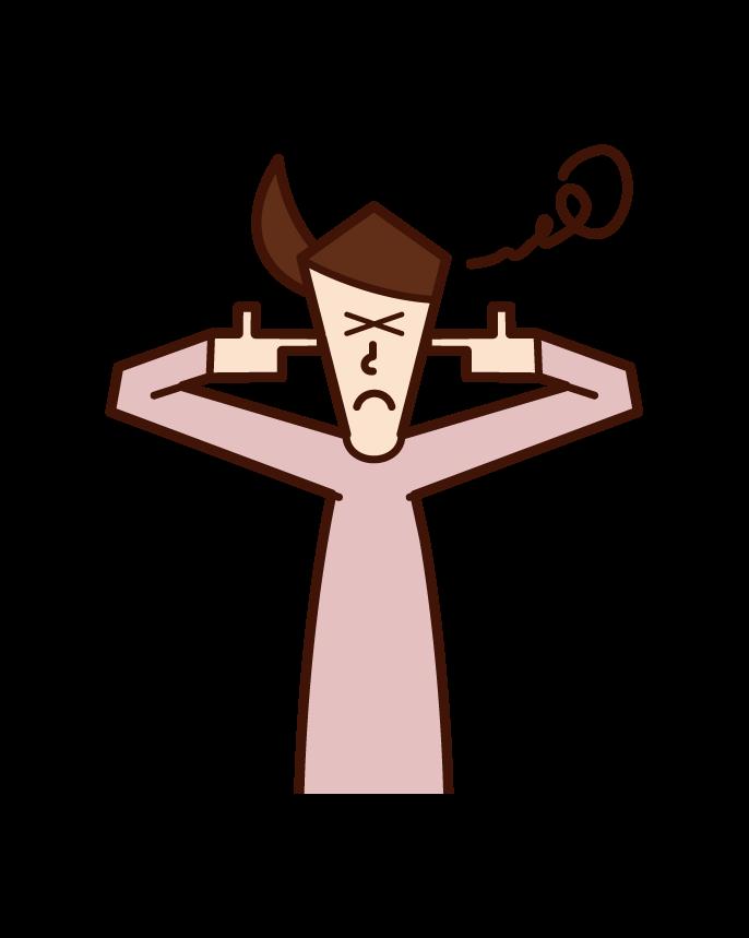 指で耳を塞ぐ人(女性)のイラスト