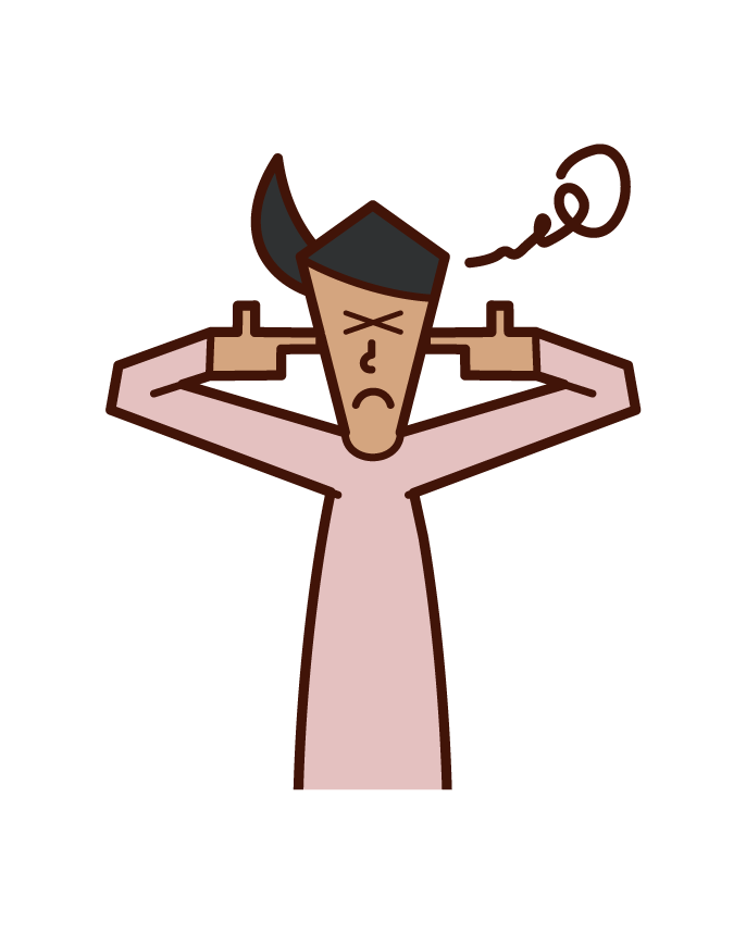 Illustration of a woman who closes her ears with her fingers